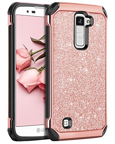 LG K10 Case, LG Premier LTE L62VL L61AL Case, BENTOBEN Sparkly Hybrid Hard Cover Laminated with Luxury Shiny Synthetic Leather Shockproof Protective Case for LG K10 MS428 K428SG Case, Rose Gold+Black