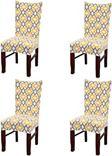 SoulFeel Set of 4 x Stretchable Dining Chair Covers, Spandex Chair Seat Protector Slipcovers for Holiday Banquet, Home Party, Hotel, Wedding Ceremony (Yellow Weave)