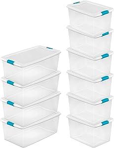 STERILITE 106 Qt. Plastic Stackable Storage Container (4 Pack) + 64 Qt Storage Box Container (6 Pack)