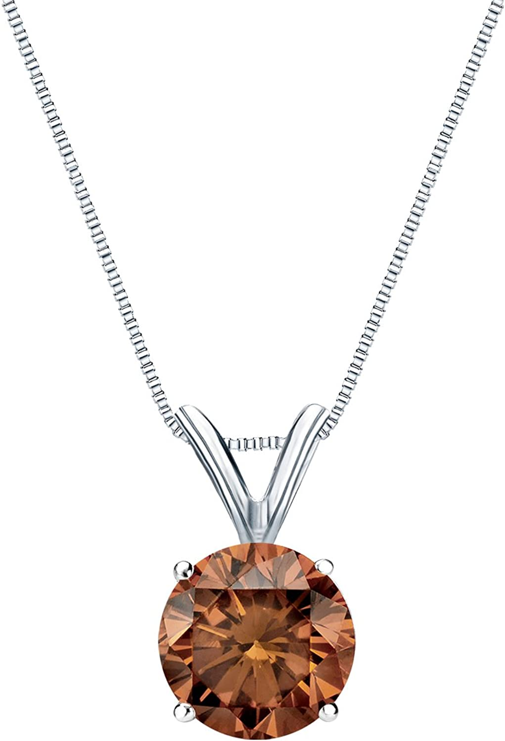 14k White Gold Max 51% OFF 4-Prong Basket Solitaire Round-cut Diamond Department store Brown
