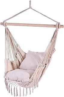"Auwish Hammock Chair Macrame Swing - Handmade Hanging Cotton Rope Patio Chairs for Indoor, Outdoor Home, Bedroom, Deck, Yard, Garden Wide Seat (39.4"" x 51.2'', White)"