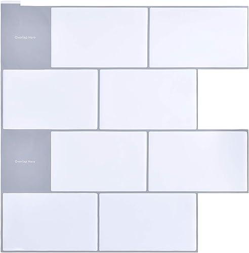 "GSM Brands Peel and Stick Kitchen Backsplash Subway Tiles - 10 Adhesive Sheets (12"" x 12"")"