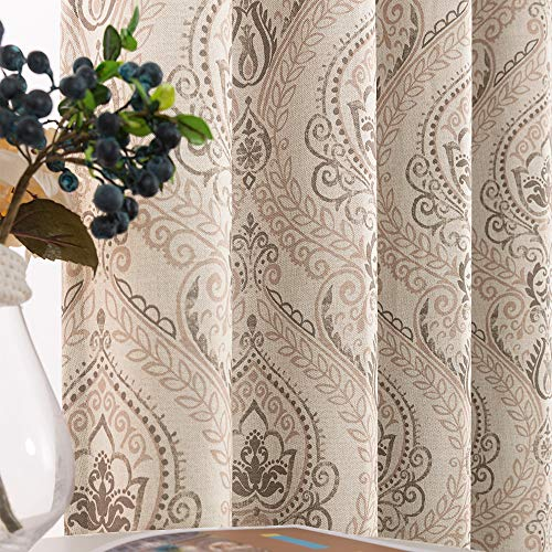 Medallion Linen Textured Curtains for Living Room 84 Inch Length Drapes Damask Pattern Flax Draperies Window Treatments Room Darkening Sliding Glass Doors for Bedroom Curtain Panels 1 Pair Taupe