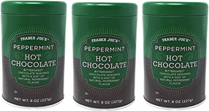 Trader Joes Holiday Peppermint Hot Chocolate Bulk Pack of 3 Tins - 8 oz Per Tin - 24 oz Total - Seasonal Limited Edition Hot Cocoa Mix