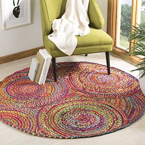 Safavieh Cape Cod Collection CAP203A Handmade Red and Multicolored Jute Round Area Rug (6' in Diameter)