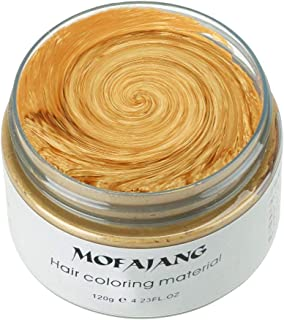 MOFAJANG Unisex Hair Wax Color Dye Styling Cream Mud, Natural Hairstyle Pomade, Washable Temporary,Party Cosplay (Gold)