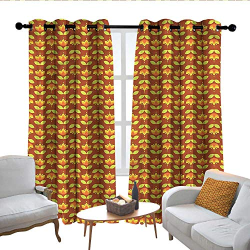 Lewis Coleridge Decorative Curtains for Living Room Floral,Tulips with Foliage Leaves,Blackout Draperies for Bedroom 120'x96'