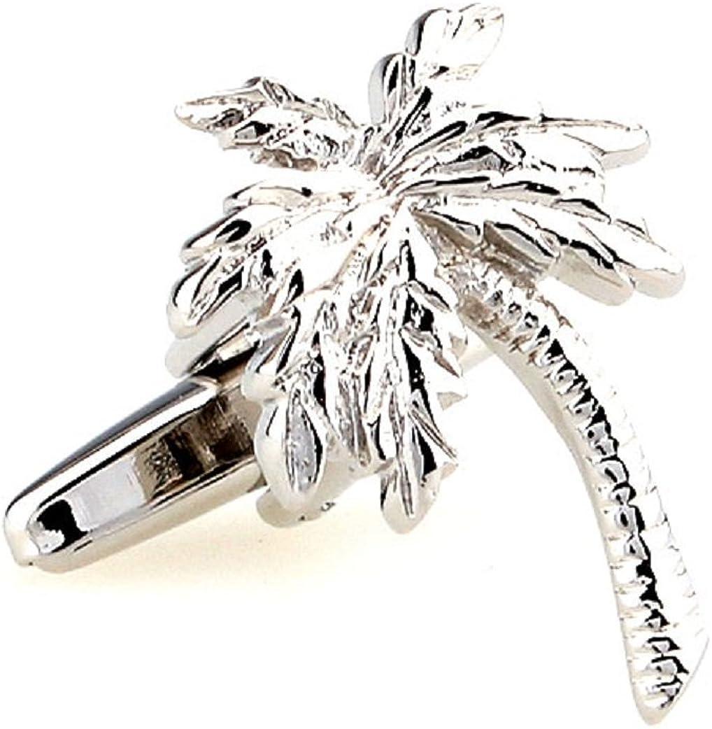 MRCUFF Palm Tree Pair Cufflinks in a Presentation Gift Box & Polishing Cloth