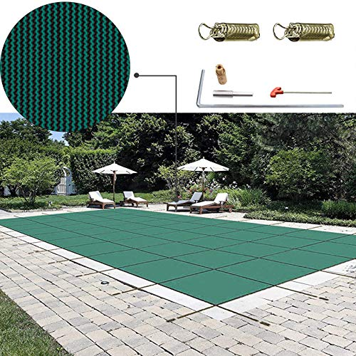 Happybuy Pool Safety Cover 16x32ft Rectangle Inground Safety Pool Cover Green Mesh Solid Pool Safety Cover for Swimming Pool Winter Safety Cover