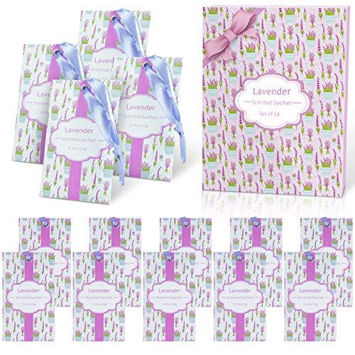DERDUFT Duftsäckchen, Duftsäckchen für Schublade, Garderobe und Auto, Geschenk-Set für Einweihungsparty, Muttertag, Lavendelduft, 14 x 10 g