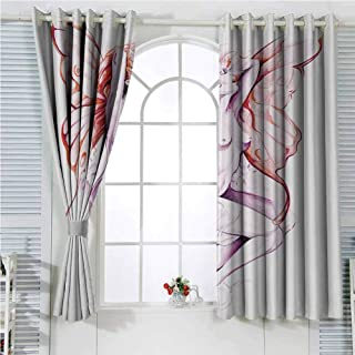 Tattoo Decor Eclipse Blackout Curtains Nude Fairy Angel with Feathered Wings Like Butterfly Artistic Feminine Sexy Patio Door Curtains Living Room Decor W96 x L84 Inch Lilac Coral