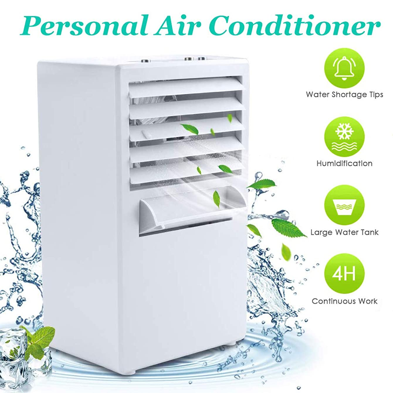 StillCool Personal Air Conditioner Fan, Upgrade Version Mini Evaporative Air Circulator Cooler Humidifier, Cold Air Fan Misting Bladeless Quiet Cooling Desk Fan