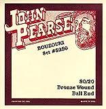 John Pearse Strings® 5250 Jeu de Cordes pour Irish Bouzouki - 80/20 Bronze Wound - Ball-End - 8 Cordes Simples - Light Gauge Customs 10-40