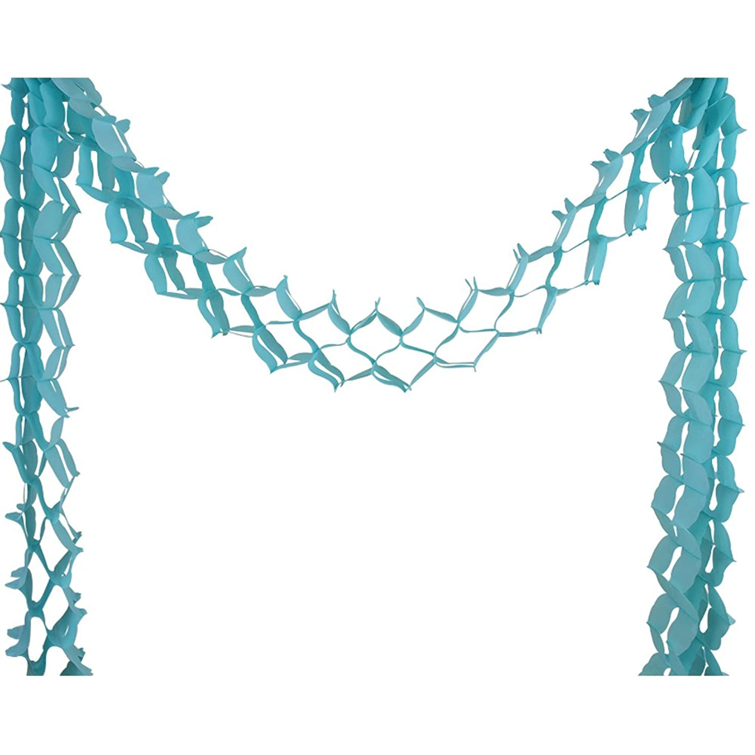 Just Artifacts Four-Leaf Expandable Tissue Paper Garland Party Streamers (6 Pack, Baby Blue)