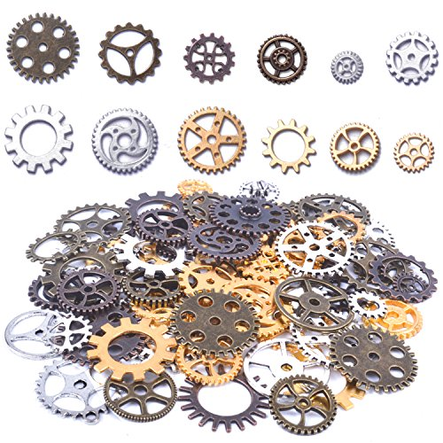 "★【PACK OF 150G】: You will receive 150g steampunk gears charms in mixed sizes & gold color( Note: this item is sold in ""GRAM"", please checked clearly before you buy). Plenty quantity for your spare or replacement. ★【QUALITY MATERIAL】:Made of alloy, le..."