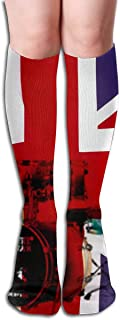 Novedad Calcetines hasta la rodilla UK Flag Drum Set Outdoor Athletic Running Long Socks Unisex