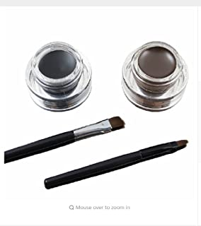 Music Flower Eye Makeup 2 in 1 Brown + Black Gel Eyeliner Make Up Water-proof Smudge-proof Set Eye Liner Kit With Brushes