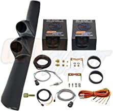 GlowShift Diesel Gauge Package for 1998-2002 Dodge Ram Cummins 1500 2500 3500 - Black 7 Color 60 PSI Boost & 1500 F Pyrometer EGT Gauges - Black Full Size Dual Pillar Pod