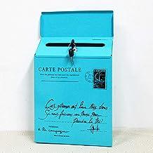 Iron Lock Letter Box Vintage Wall Mount Mailbox Mail Postbrief Krantendoos (Kleur: Blauw)