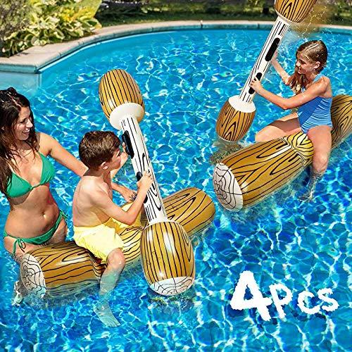 WULIU Aufblasbares Spielzeug für Schwimmen,4 Stück Floating Battle Set Float Flöße Sommer Outdoor Beach Pool Sportspiele Wasserspielzeug für Kinder und Erwachsene (A)