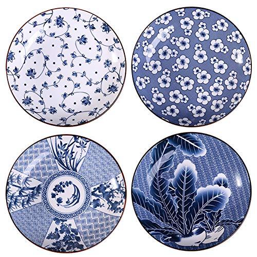 Gegong Juego de 4 cuencos de porcelana azul y blanco con diseño de flores, platos planos para aperitivos, ensaladas, postres, aperitivos, aperitivos, 8 pulgadas, cuatro patrones.