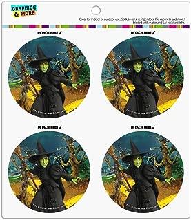 Wizard of Oz Wicked Witch Character Refrigerator Fridge Locker Vinyl Circle Magnet Set