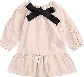 Happy Town Toddler Girls Solid Bow Dress Kids Lantern Sleeves Beige Dress Ruffle Vestido for 2T Girls