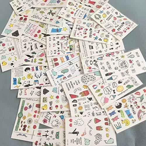 JZLMF Etiqueta engomada del Tatuaje de Dibujos Animados Lindos niños Pegatinas de Tatuaje de una Sola Vez Pegatinas de Maquillaje Tatuajes Disponibles Cuerpo, Brazo, Frente 10 Hojas
