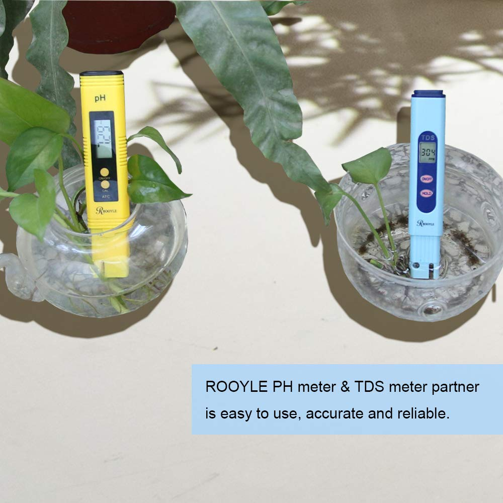 RO System Aquariums Drinking Water Digital pH Tester with /±0.01 pH Accuracy and 0.00-14.00PH Measurement Range for Water Quality ROOYLE PH Meter Fishpond and Swimming Pool Hydroponics