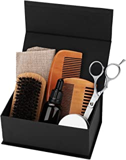 8 pieces Beard Care Set, Beard Brush + Beard Comb + Beard Shaper + Scissors + Razor Set for Men, Beard Care Grooming Kit for Home and Travel with Wooden Box, Shaping & Growth Gift set
