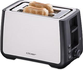 Cloer 3569 King-Size-brödrost för 2 XXL skivor/kontrollfunktion/rostfritt stålhölje/1000 watt/svart plast