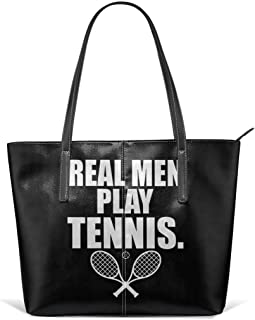 Durable Tennis Racket Tennis Ball Tennis Raquet Leather Handbag Tote Bag For Women's