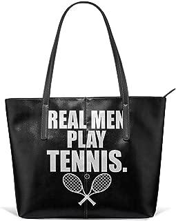 Durable Tennis Racket Tennis Ball Tennis Raquet Leather Handbag Tote Bag For Women's