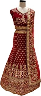 SHRI BALAJI 8960 Dark red Indian Hit Latest Velvet Lehenga Chli Heavy Embroidery Work Bridal wedding cocktail wear Ethnic Women Girls Semi Stitched