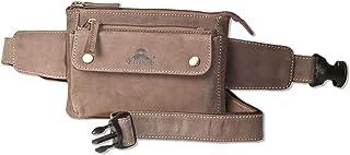 Woodland Flache Bauchtasche mit Vortasche für EIN großes Smartphone aus naturbelassenem Büffelleder in Dunkelbraun
