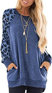 UniSweet Womens Leopard Splice Casual Comfy Tunic Color Block Long Sleeve Round Neck Pocket T Shirt Blouse Tops