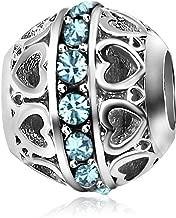 KunBead Heart Birthday Birthstone Jan-Dec Charms Beads for Bracelets