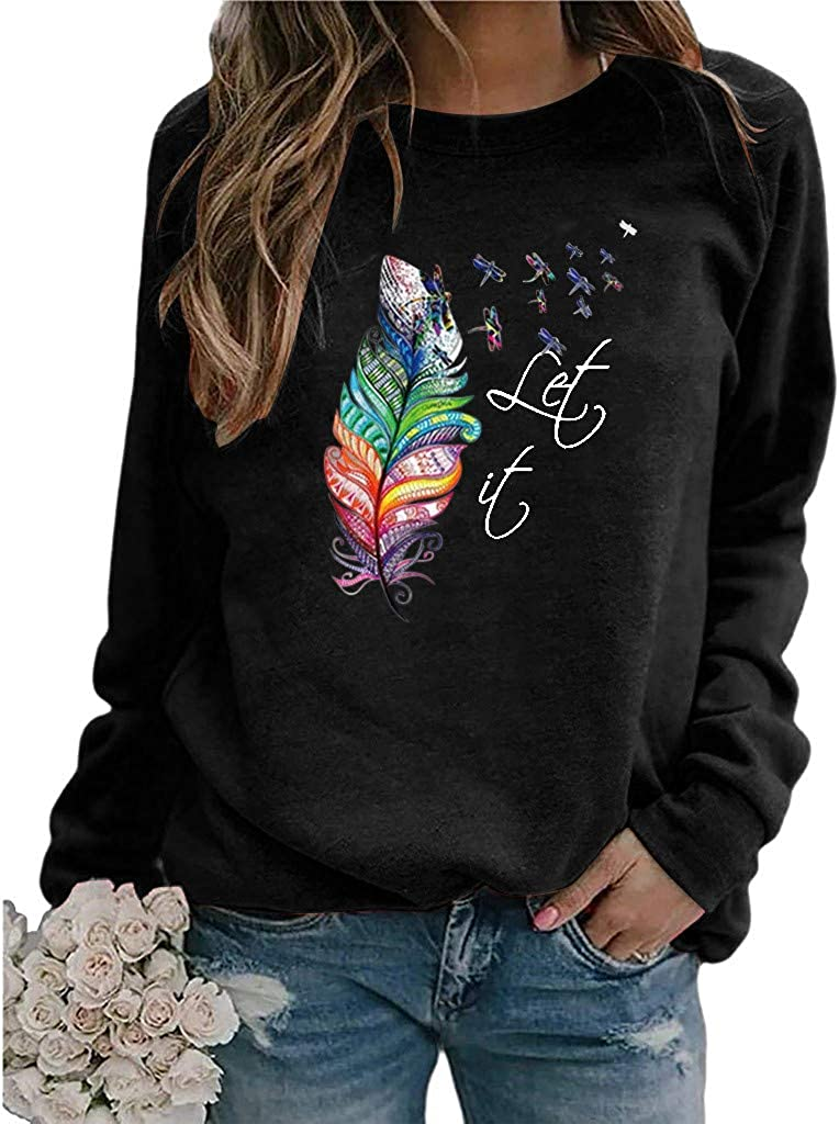 Jaqqra Crewneck Sweatshirts for Women, Women's Casual Long Sleeve Plant Print Pullover Tops Shirts Blouse for Teen Girls