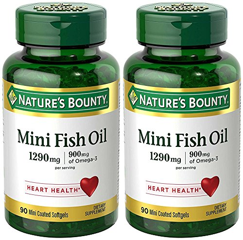 Fish Oil 1290 mg, Mini Odorless Softgels, 2 Bottles (90 Count)