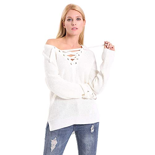 4fe0989376 ENIDMIL Women s Lace up Front V Neck Crisscross Long Sleeve Knit Pullover  Sweater Tunic Top