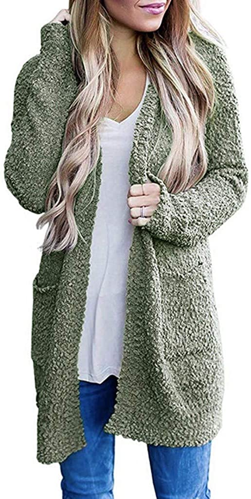 Sweaters for Women,Women's Long Sleeve Soft Chunky Knit Sweater Open Front Cardigan Outwear with Pockets