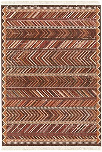 Tapis poncho marron rouge 120x170cm