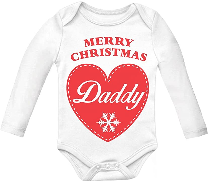 Tstars Merry Christmas Daddy Xmas Gift for Father &Child Cute Baby Long Sleeve Bodysuit