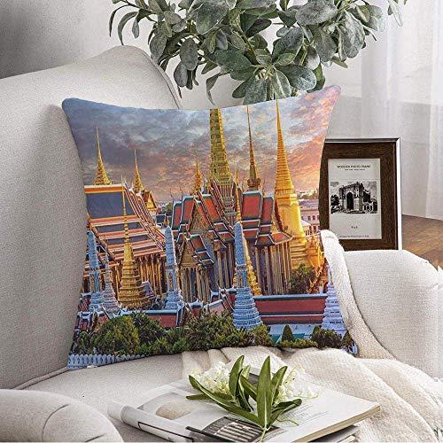 Dekorativer quadratischer Kissenbezug Grand Wat Phra Lokale Geschichte Keaw City Sonnenuntergang Wahrzeichen Stadtbild Bangkok Place Wahrzeichen Asien Pray Soft Kissenbezug für Schlafzimmer Sofa Couch