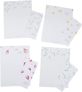 JETEHO 24 Pcs Cute Lovely Leaves Style Lined Letter Writing Stationary Paper and 12 Pcs Envelopes Set