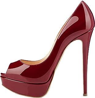 808d7d1361ee8 elashe Escarpins Femme Plateforme - 15CM Escarpins Peep Toe - 3CM  Plateforme Talon Chaussures Open Toe
