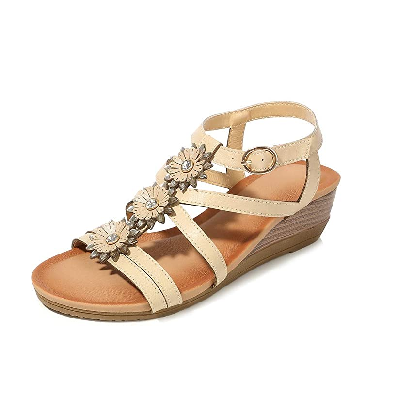?QueenBB? Womens Wedge Sandals Summer Rhinestone Bohemian Beaded Ankle Strap Beach Wear Sandal