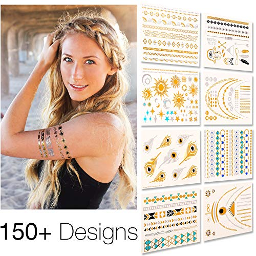 Flash Tattoo | Temporary Tattoos For Women & Kids - 8 Sheets Semi Permanent Tattoo - Best Tattoo...