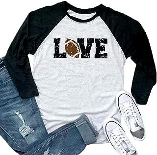 Women Love Football Shirts 3/4 Sleeve Baseball Graphic Fall Raglan Tee Tops Blouse