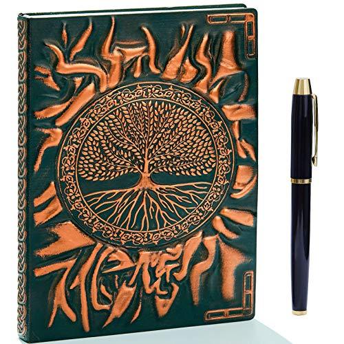 Cuaderno de notas vintage de piel gofrada con bolígrafo dorado, tamaño A5,...